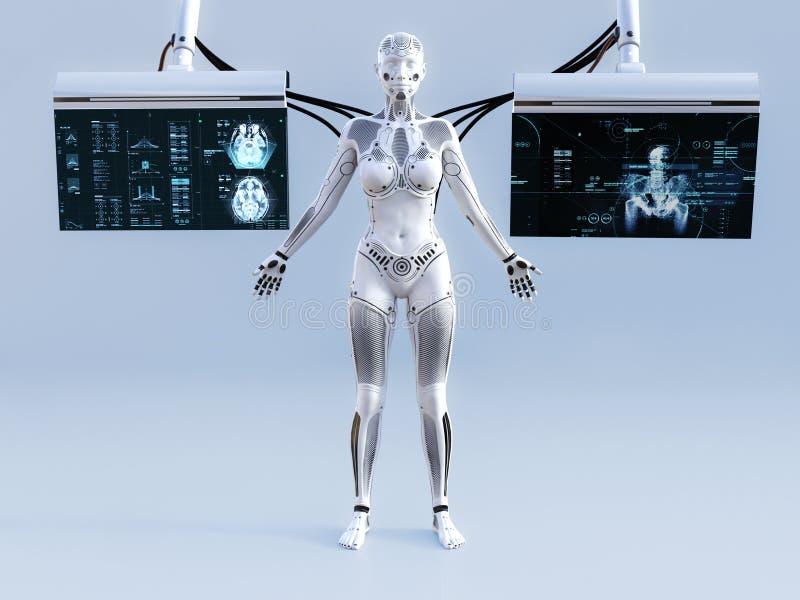 tolkning 3D av den kvinnliga roboten förbindelse till skärmar stock illustrationer