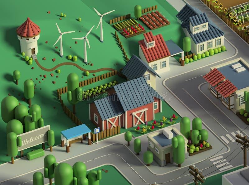 tolkning 3d av den låga poly isometriska staden Tecknad filmliggande stock illustrationer
