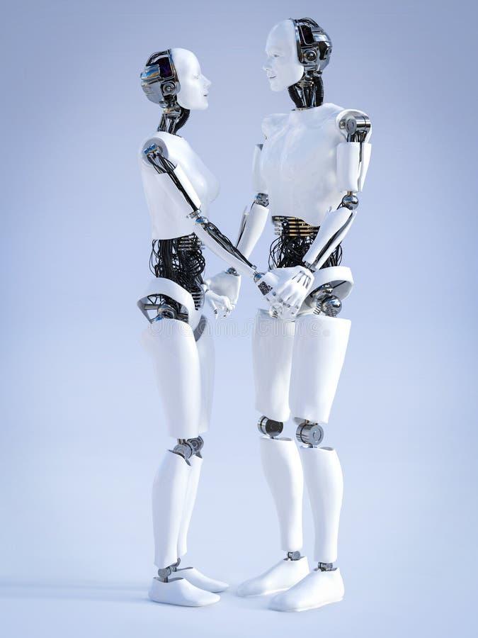 tolkning 3D av den manliga och kvinnliga roboten som rymmer händer vektor illustrationer