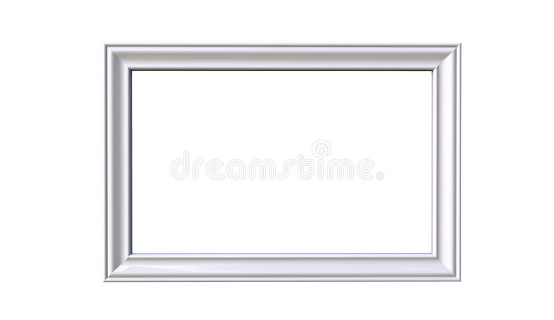 tolkning 3d av den moderna isolerade hängande vita ramen för färgfoto royaltyfri illustrationer