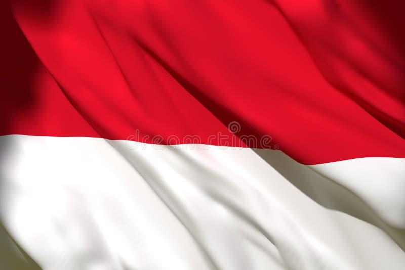 tolkning 3d av den Monaco flaggan royaltyfri illustrationer