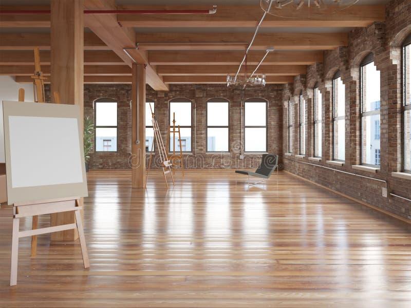 tolkning 3d av den nya stora trävindinre med modellmodellen stock illustrationer