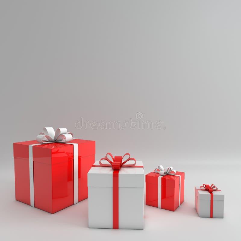 tolkning 3d av den realistiska röda och vita gåvaasken med bandpilbågen på vit studiobakgrund r royaltyfri illustrationer