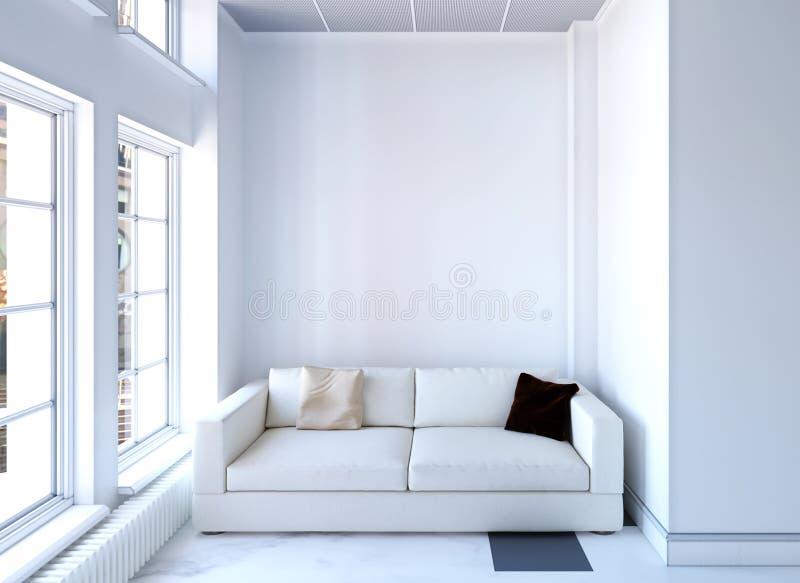 tolkning 3d av den vita inre med soffan med stora fönster stock illustrationer