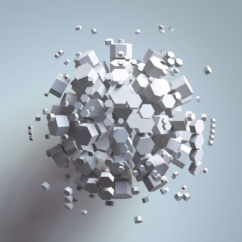 tolkning 3D av den vita sexhörniga prisman Science fictionbakgrund Abstrakt sfär i tomt utrymme stock illustrationer