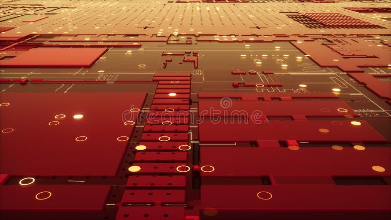 tolkning 3d av det abstrakta strömkretsbrädet royaltyfria foton