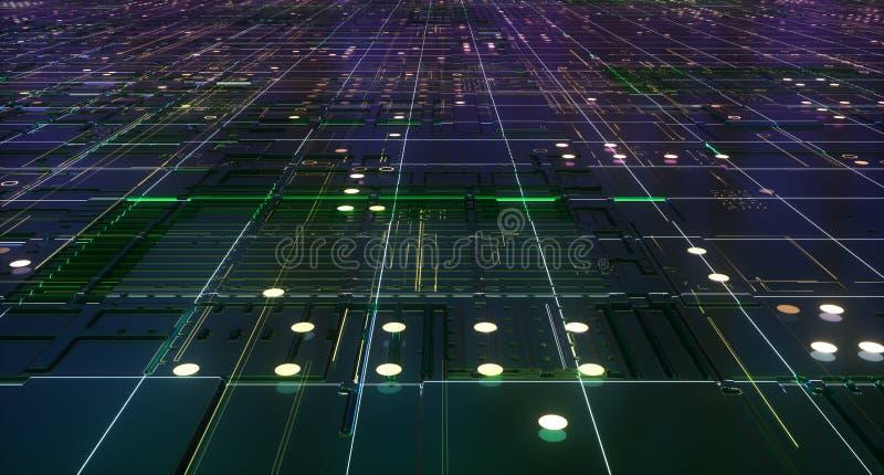 tolkning 3d av det abstrakta strömkretsbrädet arkivbild