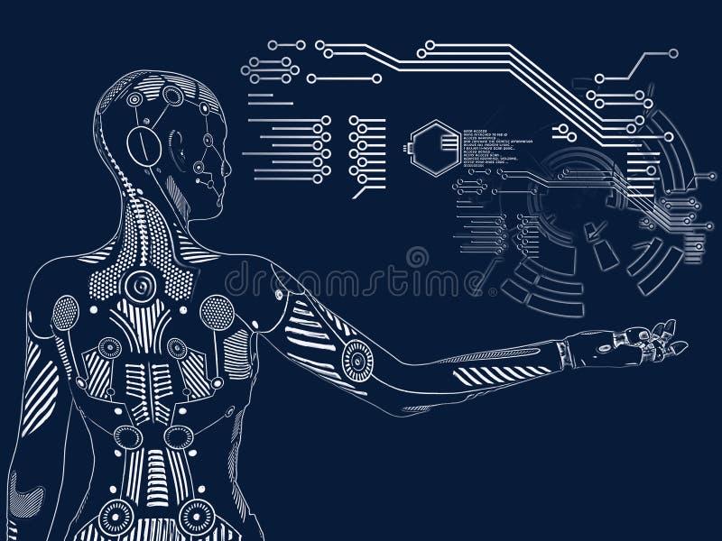tolkning 3D av det digitala begreppet för kvinnlig robot royaltyfri illustrationer