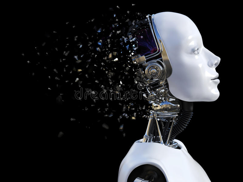 tolkning 3D av det kvinnliga robothuvudet som splittrar royaltyfri illustrationer