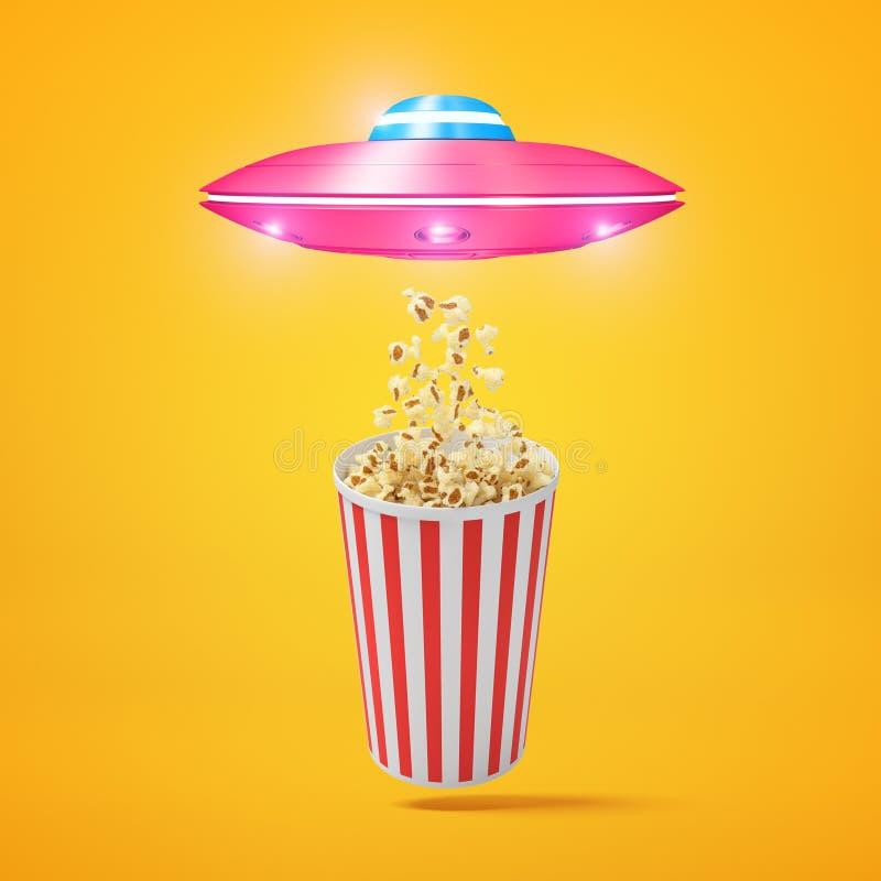 tolkning 3d av det lilla rosa ufoflyget ovanför den randiga popcornhinken och att dra något popcorn in mot dess lucka på bärnsten royaltyfri illustrationer