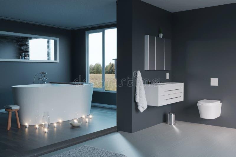 tolkning 3d av av det lyxiga gråa badrummet med fria stående badkar- och stearinljusljus royaltyfri illustrationer