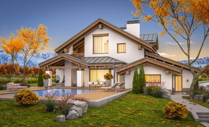 tolkning 3d av det moderna huset i aftonhöst royaltyfri foto
