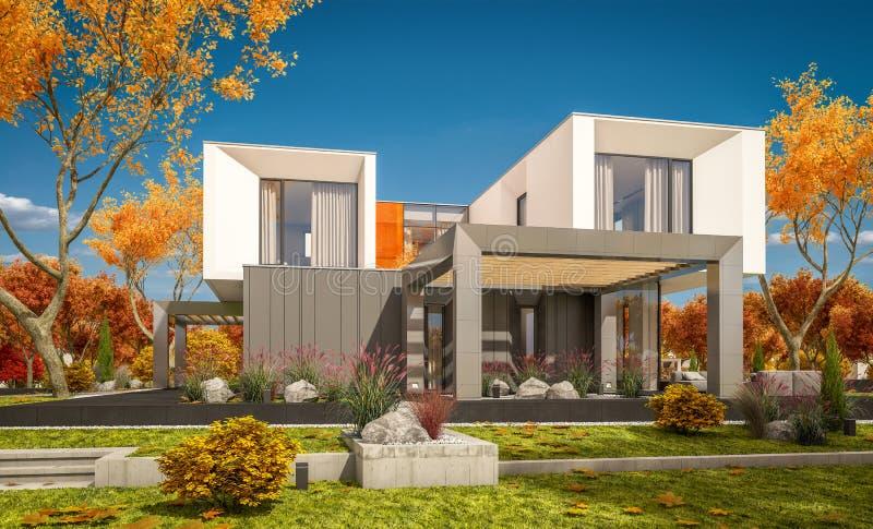 tolkning 3d av det moderna huset i dagen för höst för  för trädgård Ñ den lear soliga royaltyfri fotografi