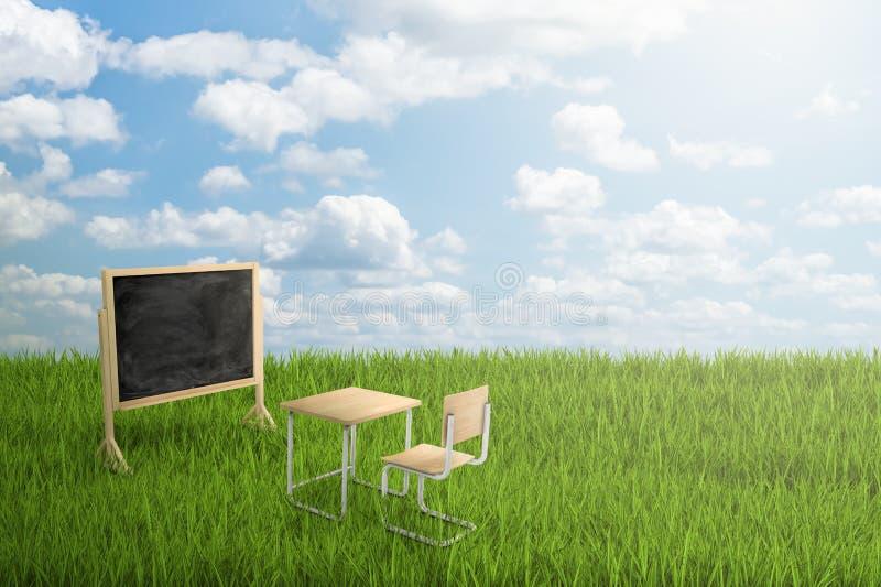 tolkning 3d av det skolaskrivbordet, stol och brädet på grönt gräs och bakgrund för blå himmel vektor illustrationer