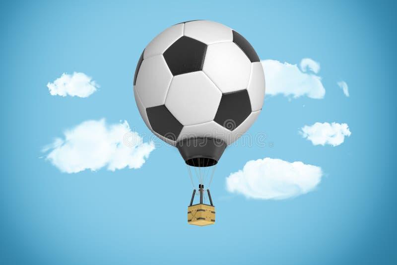 tolkning 3d av det stora flyget för ballong för varm luft i himlen med dess markis i färgerna av en fotbollboll vektor illustrationer