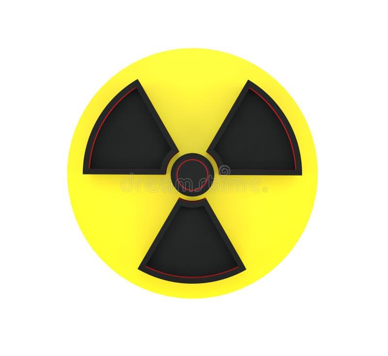 tolkning 3d av det varnande tecknet av den radioaktiva zonen som isoleras på vit bakgrund royaltyfri illustrationer