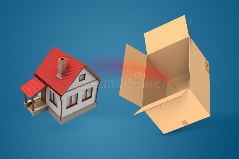 tolkning 3d av det vita huset med rött takflyg ut ur kartongen på blå bakgrund royaltyfri illustrationer