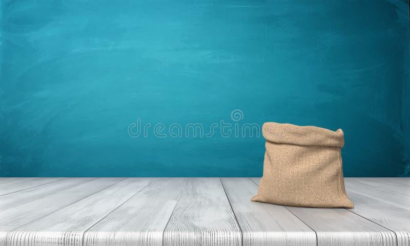 tolkning 3d av en öppen pengarpåse som göras av hessianstorkduken med ingen teckning som står på ett träskrivbord på blå bakgrund stock illustrationer