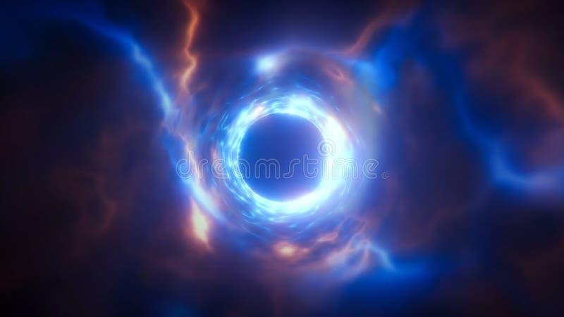 tolkning 3d av en abstrakt energitunnel i utrymme Energin av styrkafälten av tunnelen i utrymme stock illustrationer