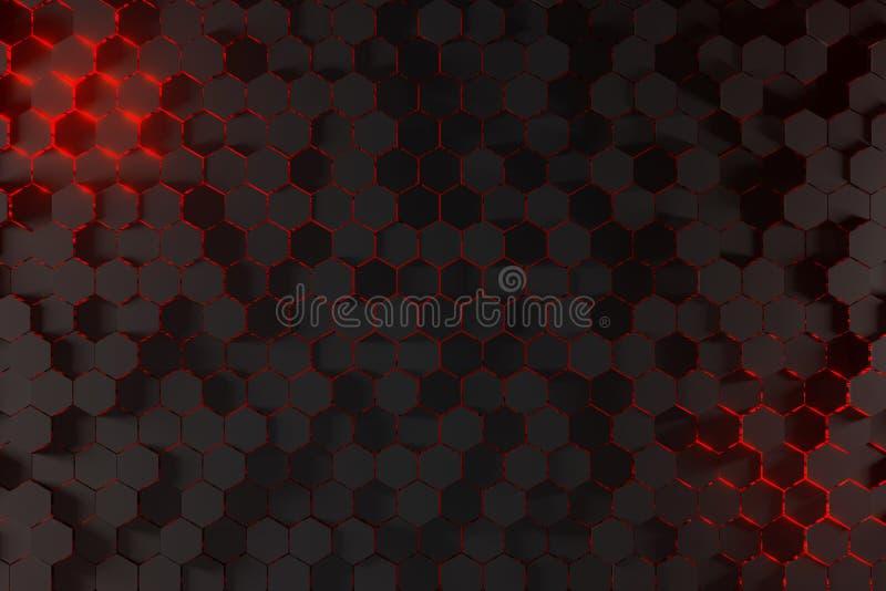 tolkning 3D av en abstrakt sexhörningsbakgrund med rött ljus royaltyfri illustrationer