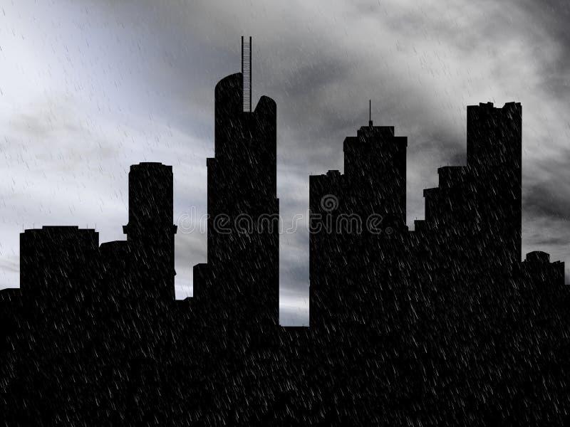 tolkning 3D av en cityscape i regnet stock illustrationer