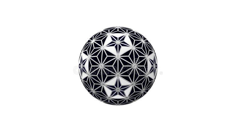 tolkning 3d av en dekorativ sfär som isoleras i vit bakgrund stock illustrationer
