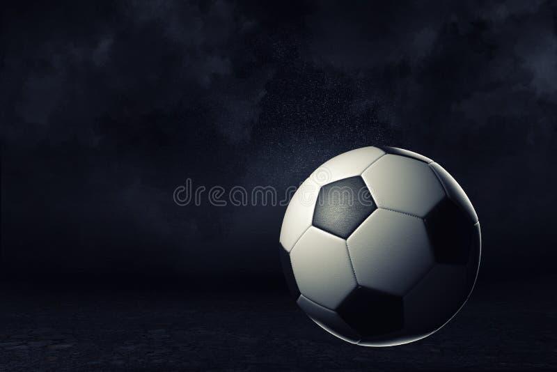 tolkning 3d av en enkel fotbollboll på en mörk bakgrund under ljus strålkastare stock illustrationer