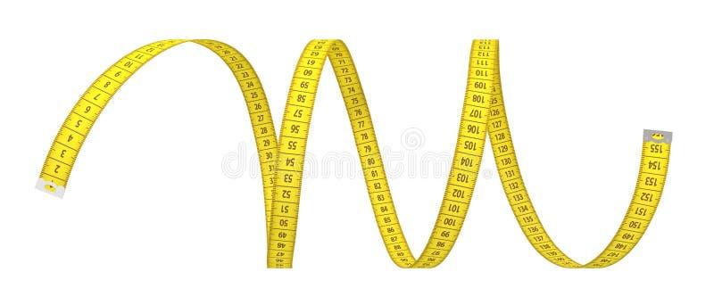 tolkning 3d av en enkel gul remsa av att mäta bandet på en vit bakgrund stock illustrationer