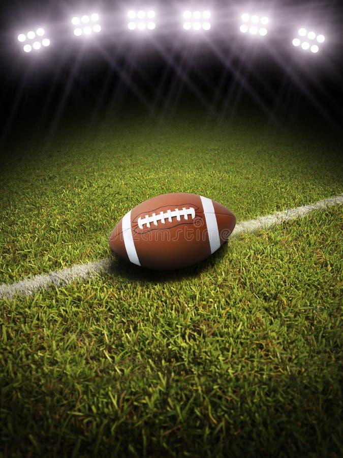 tolkning 3d av en fotboll på ett fält med stadionbelysning arkivfoton