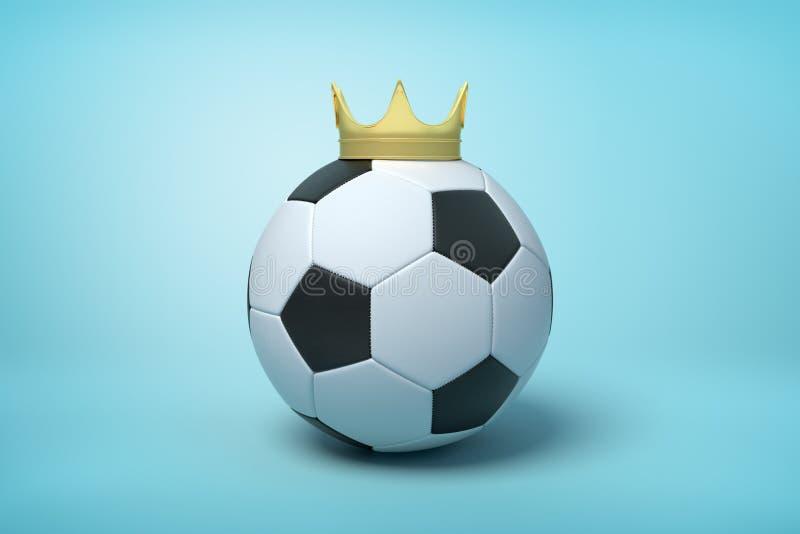 tolkning 3d av en fotboll som b?r en guld- krona p? ljust - bl? bakgrund arkivfoton