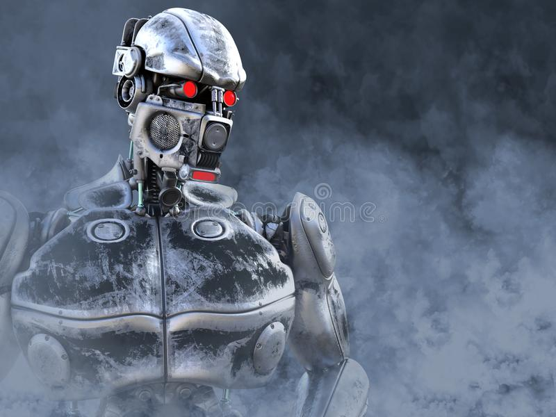 tolkning 3D av en futuristisk mech soldat royaltyfri illustrationer