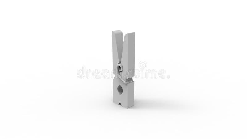 tolkning 3d av en grå klädnypa som isoleras i vit studiobakgrund stock illustrationer