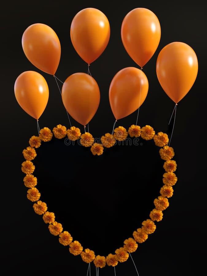 tolkning 3D av en hjärta av nejlikor med ballonger över royaltyfri illustrationer