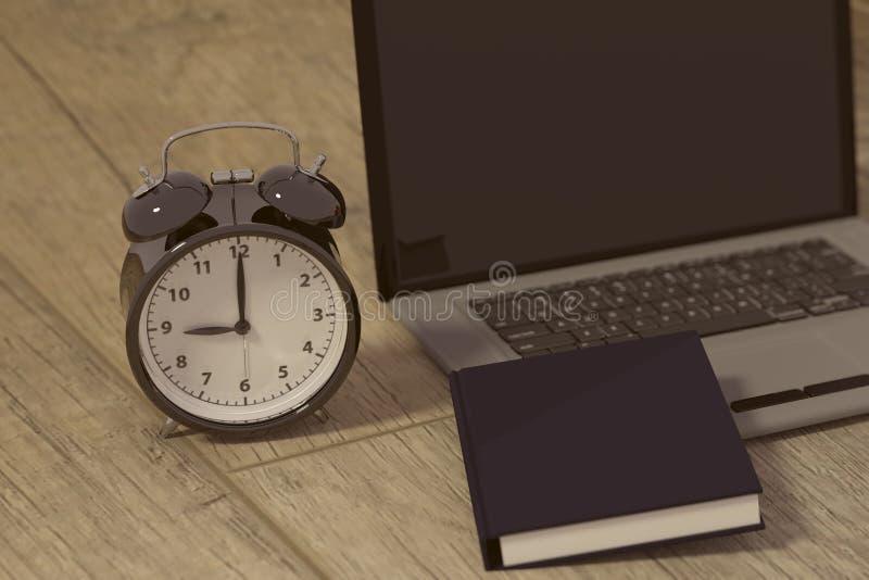 tolkning 3D av en klocka, en bärbar dator och en bok för studier för arbeten royaltyfri illustrationer
