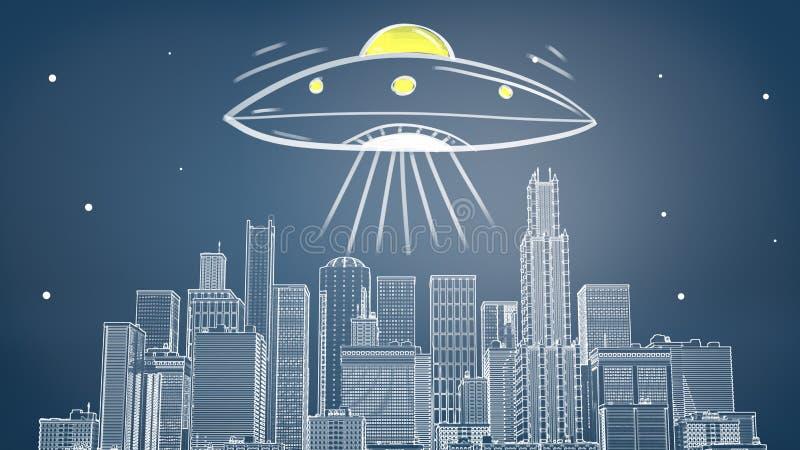 tolkning 3d av en krita dragen cityscape med många skyskrapor under en jätte- ufo som sänder ut gult ljus och strålar stock illustrationer