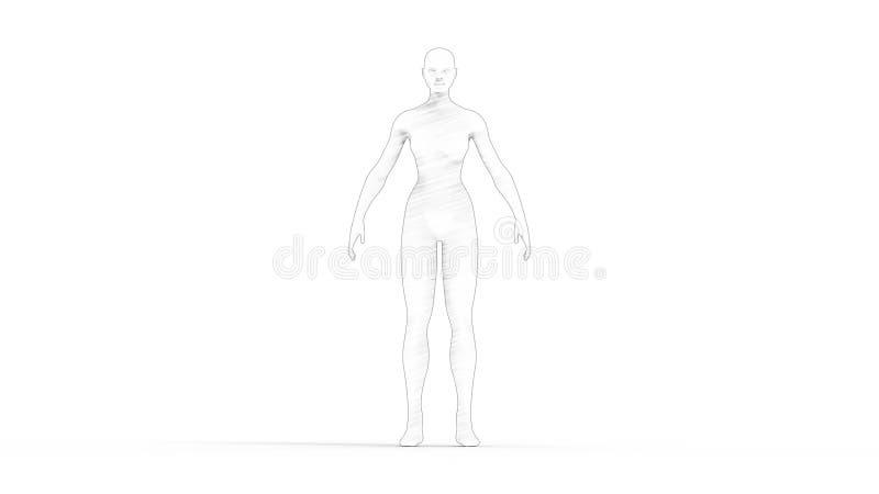 tolkning 3D av en kvinnadatormodell som isoleras i vit bakgrund royaltyfri illustrationer