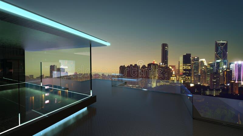 tolkning 3D av en modern glass balkong med bakgrund för fotografi för stadshorisont verklig royaltyfri illustrationer