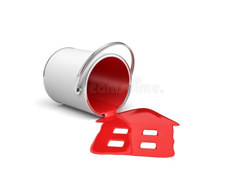 tolkning 3d av en röd målarfärghink som ligger på dess sida med målarfärg som ut läcker och gjort huset för att forma vektor illustrationer