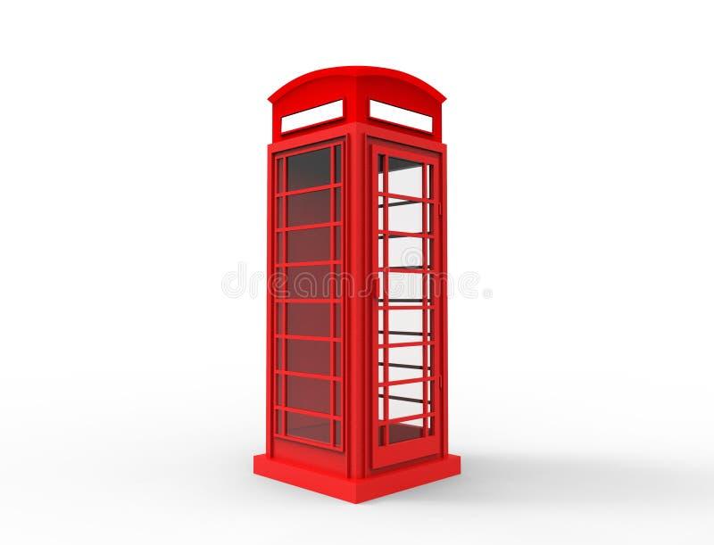 tolkning 3D av en r?d klassisk telephonebooth i vit bakgrund royaltyfria foton