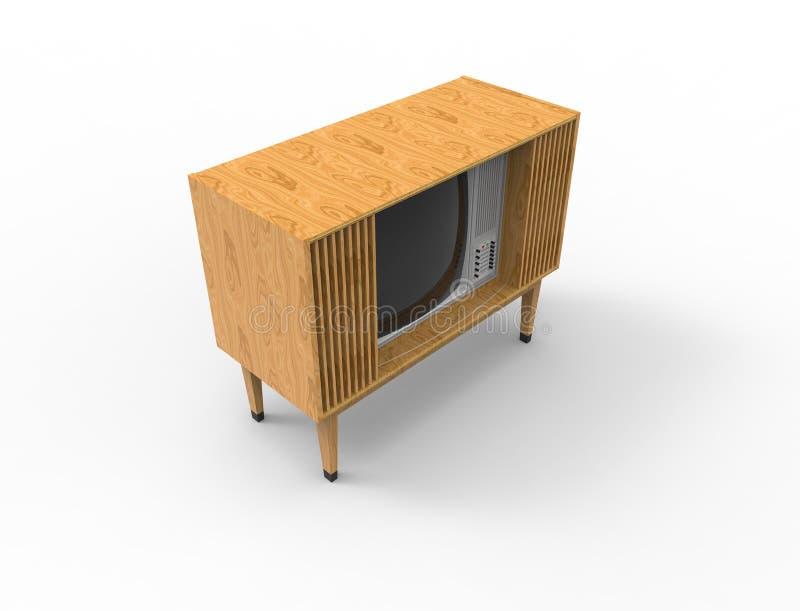 tolkning 3d av en retro televisiontv för tappning som isoleras på vit bakgrund vektor illustrationer