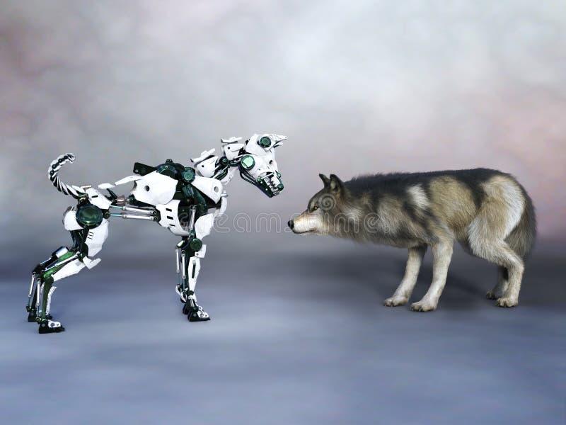 tolkning 3D av en robothund som möter en varg vektor illustrationer