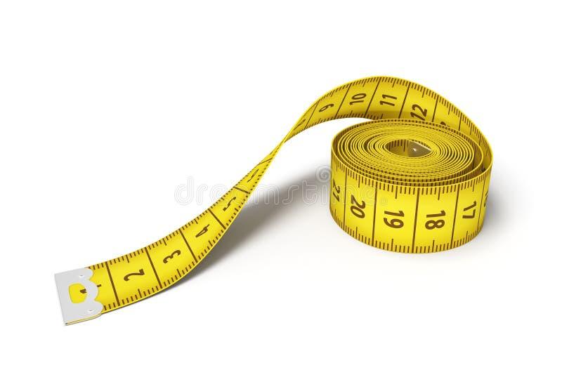 tolkning 3d av en rulle av ett gult mäta band på en vit bakgrund stock illustrationer