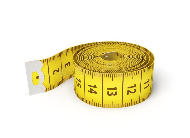 tolkning 3d av en rulle av ett gult mäta band på en vit bakgrund vektor illustrationer