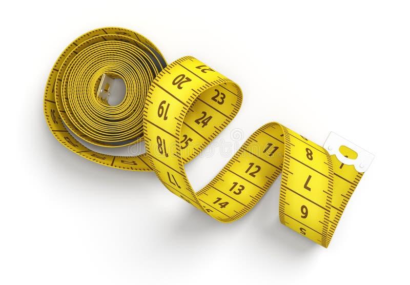 tolkning 3d av en rulle av ett gult mäta band som startar att rulla ut på en vit bakgrund stock illustrationer