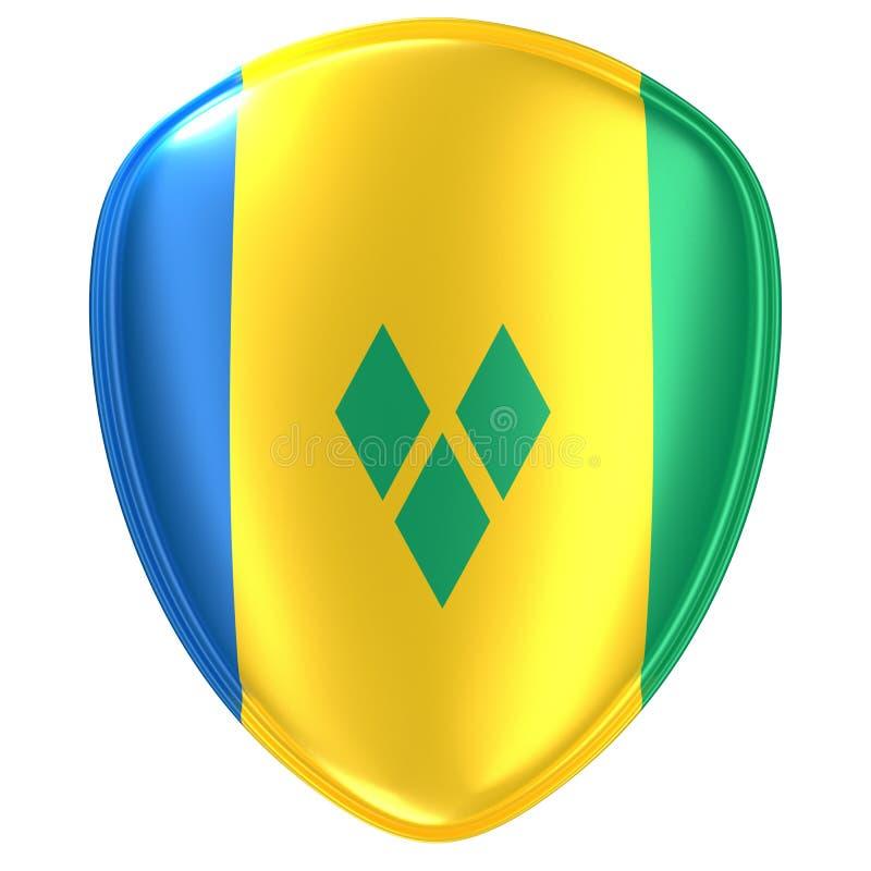 tolkning 3d av en Saint Vincent och Grenadinerna flaggasymbol royaltyfri illustrationer