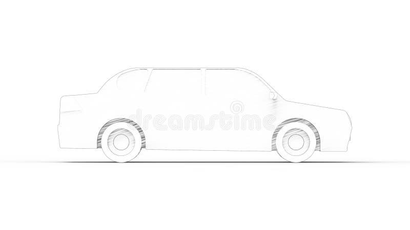 tolkning 3d av en sedanbilmodell som isoleras i studiobakgrund royaltyfri illustrationer