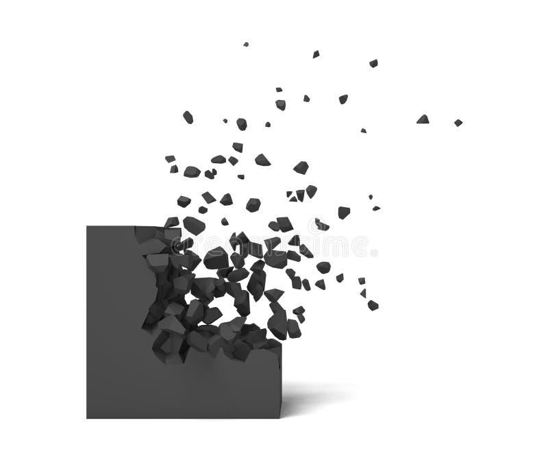 tolkning 3d av en svart fyrkant på en vit bakgrund som startar att få det förstörda stycket vid stycket vektor illustrationer