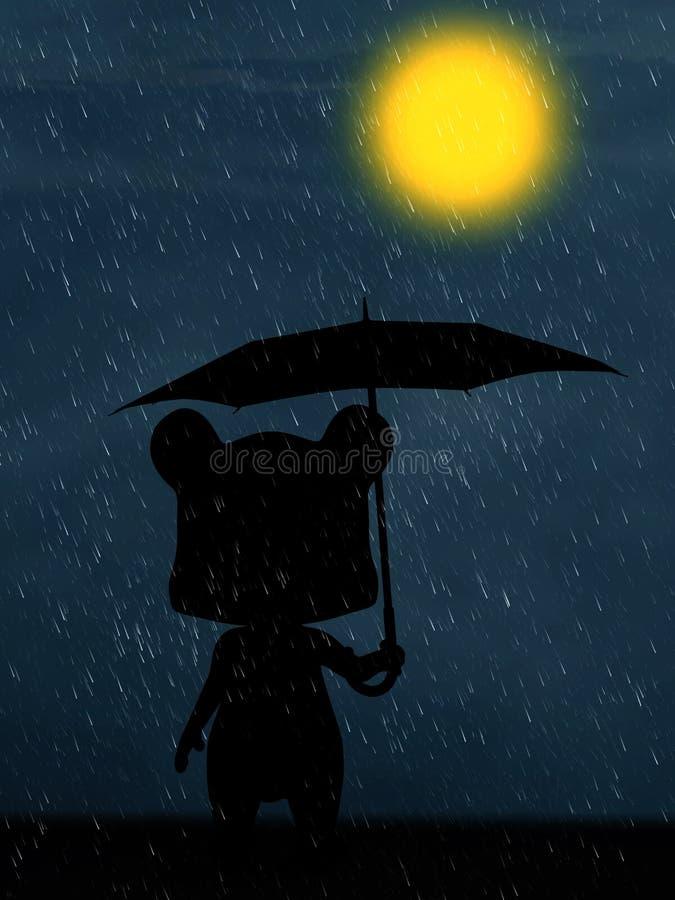 tolkning 3D av en tecknad filmbjörn i regnet på natten stock illustrationer