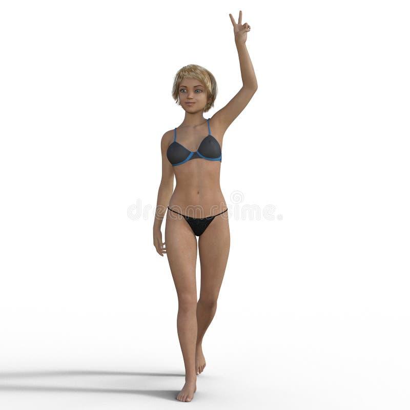 tolkning 3D av en tecknad filmutvikningsbrudflicka stock illustrationer