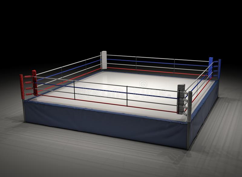 tolkning 3d av en tom boxningsring som riktas uppmärksamheten på i mörkret royaltyfri fotografi